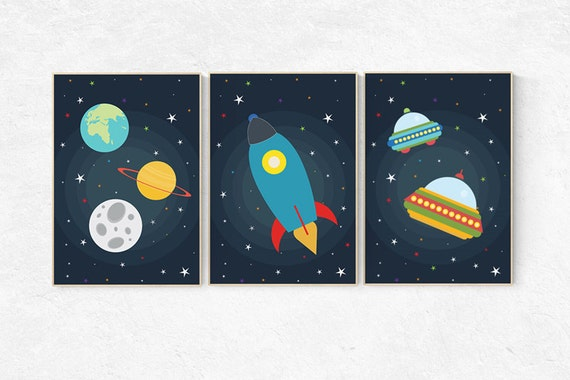 Space nursery decor outer space nursery wall art nursery for Outer space childrens decor