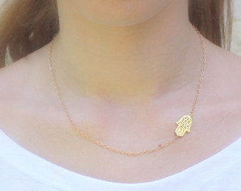 Hamsa Necklace, Gold Tiny Hamsa Necklace, Hand of Fatima Necklace, Evil Eye, Delicate Thin Gold Necklace