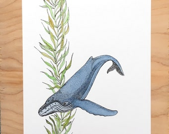 "Original 8"" x 11"" Humpback Whale Painting"
