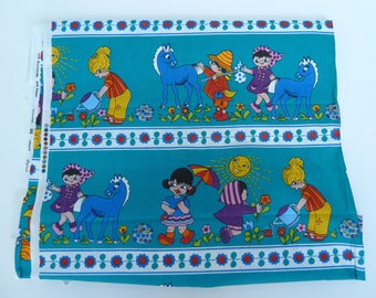 Vintage fabric, fabric with children playing, manufacturer of printed fabric,