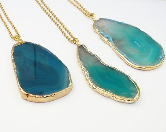 Blue Agate Slice Necklace Dark Blue Agate Pendant Gift for Women Gemstone Necklace Stone Pendant Long Necklace Pendant gold necklace Stone
