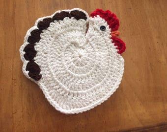 Crochet Rooster Potholder/Trivet