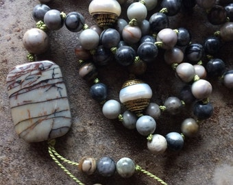 Picasso jasper mala necklace with pearl brass beads hand knotted on silk cord