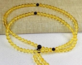 Amber rosary mala 108 amber beads, 6 mm. Genuine Baltic Amber Buddhist Mala rosary prayer. Rosaries mala
