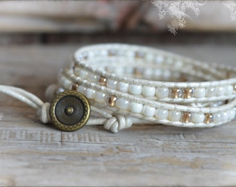 Leather Wrap Bracelet- Beaded Wrap Bracelet-  Beaded Wrap Bracelets-  White Beaded Wrap Bracelet- Bead Leather Wrap Bracelet- Bracelet Wraps