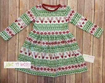 Girls Christmas holiday dress - red and green Fair Isle print