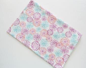 "Aqua Purple Orange Flannel Pillowcase, Camp Pillow Pillowcase, Travel Pillowcase, CirclePillowcase, Flannel Pillow Case, 18"" x 13"", Handmade"
