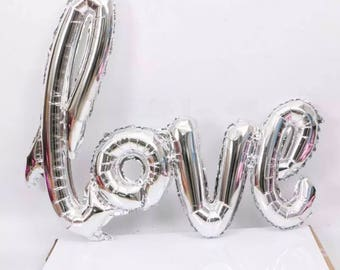 LOVE Balloon | Bridal Shower Decor | Engagement Party Decor | Bachelorette Party Decor | Hen Party Decor | Wedding | Proposal | Silver