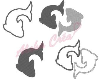 Machine Embroidery Design astrological sign zodiac symbol fish shadow + applique (4 models) - Instant Digital Download
