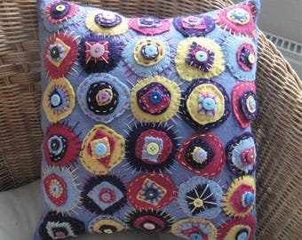 Funky Purple Upcycled Embroidered Cushion Cover