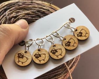 Laser cut wooden sheep stitch markers