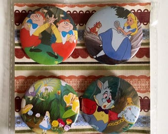 Disney Alice in Wonderland set if four handmade pin badges