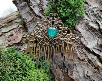 Hair Comb, Haarkamm, Elvish, Vintage, Green, LARP, Luthien, Lord of the Rings, inspired, Handmade, Unikat, Unique