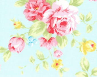Antique Flower Pastel 100% Cotton Fabric - Flowers Floral Roses Garden Aqua Blue Pink Yellow Green - Quilting Sewing Blankets Sheets