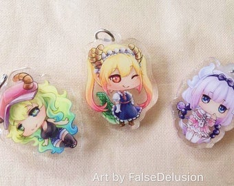 Lanyard keychain charms Miss Kobayashi's Dragon Maid Quetzalcoatl kanna Tohru cute chibi