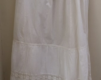 Pretty Vintage Antique drawstring petticoat with handmade lace