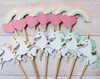 12 Unicorns and Rainbow Cupcake Topper - Choose your Colors