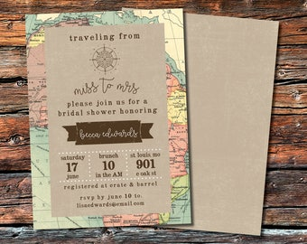 Vintage Map Travel Themed Bridal Shower Invitation