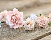 Wedding Flower Hair Pins Peach Champagne | Ivory Rose Hair | Flower Hair Bobby Pins Bridal | Nude Wedding Hair Vine | Bridal Bobby Hair Pins