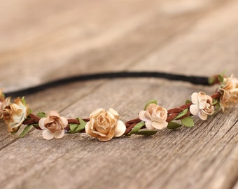 Rustic Gold Flower Crown Headband Baby Flower Crown Headband Girls Flower Crown Toddler Flower Crown Hair Wreath Rose Floral Headband