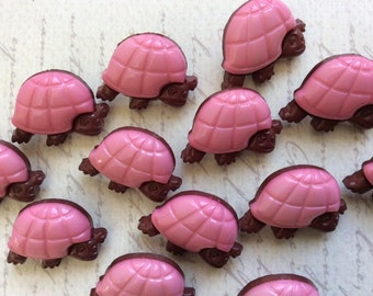 SET of 10 Very Cute Pink and Brown Shank Adorable Turtle Sewing Buttons