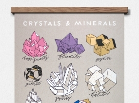 Crystals & Minerals 11 x 14 Screen Print