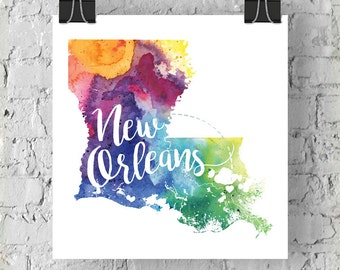 Custom Louisiana Map Art, LA Watercolor Heart Map Home Decor, New Orleans Rouge or Your City Hand Lettering, Personalized Print, 5 Colors