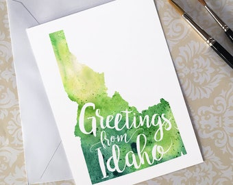Idaho Watercolor Map Greeting Card, Greetings from Idaho Hand Lettered Text, Gift or Postcard, Giclée Print, Choose from 5 Colors