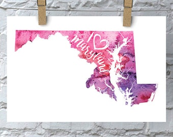 I Heart Maryland Map Art Print, I Love Maryland Watercolor Home Decor Map Painting, MD Giclee US State Art, Housewarming Gift, Moving Gift