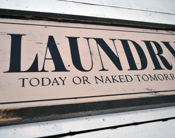 Framed Wooden LAUNDRY sign