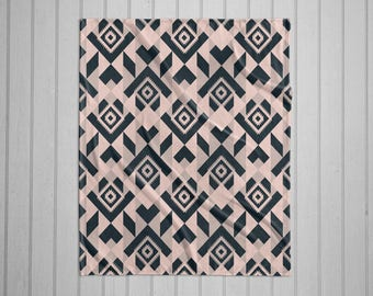 Navajo tribal pattern modern plush throw blanket with white back - teal