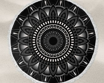 Black and White mandala pattern over-sized round beach towel