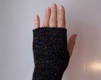 glamour glittery sparkly festive club black fingerless gloves