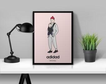 adidad Original Illustrated Poster Print   A6 A5 A4 A3