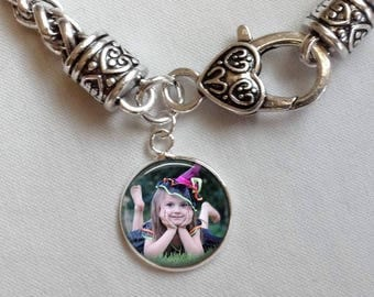 Photo Bracelet - Custom BABY Child Photo Charm Bracelet - Personalized Gift from husband from daughter