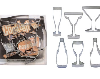 Beverages - Wine, Champagne, Martini, Margaritas, & Beer Cookie Cutter Set - RM Cookie Cutter - 1978