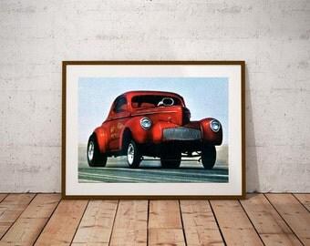 Big John Mazmanian Willys Gasser 1964 Poster