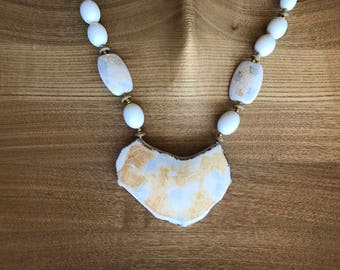 White Ceramic Beaded Necklace 30""