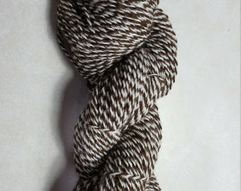 100% Alpaca Yarn, 2 ply DK Barber Pole, Brown and White, 200 yards