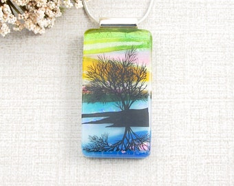 Reflection Tree Pendant - Tree on a Lake Fused Glass Pendant - Scenic Dichroic Fused Glass Pendant - Glass Tree Necklace - Nature Jewelry