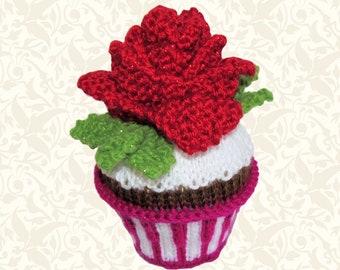 Knit Pattern Download - Rose in Snow - February Cupcake - Amigurumi