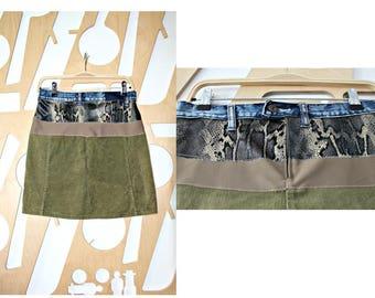 Upcycled skirt Tribal Short skirt A line Denim Boho Festival Hippie Grunge Patchwork skirt Wearable art Fairy clothing Hipster Mini skirt