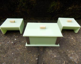 Set of Three Art Deco Early Plastic Boxes