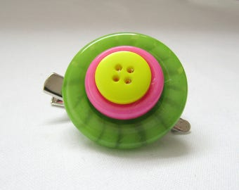 Button stack button brooch and hair clip