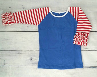 Red and White Stripe on Royal Blue 3/4 sleeve Ruffle Raglan