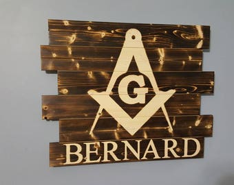 Masonic Logo Freemasons Wooden Rustic Wall Art Man Gift