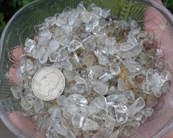 1/4 lb Quartz Crystal Chip Stones, 4-10mm, Gravel, Clear Quartz, Included Quartz, Tumbled Stones, Undrilled