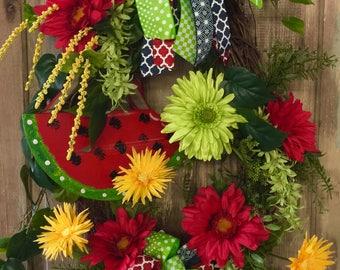 Watermelon Grapevine Wreath, Summer Wreath, Watermelon Decor