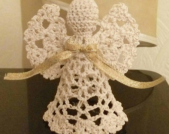 Gold Lace Angel Christmas Angel chrochet ornament Christmas tree ornament angel, shine angel