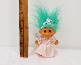 "Princess Troll 5"" Teal Hair / Russ troll / wand Tiara / Tea Party troll / Pretty Pink Dress / 80s toys /"